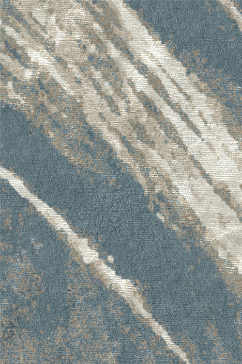 Newtown Hand Knotted Wool and Silk Rug by Tania Johnson Design Teal Sage Close up