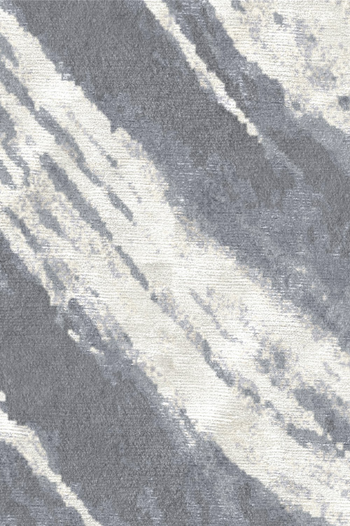 Newtown Hand Knotted Wool and Silk Rug by Tania Johnson Design Charcoal Cream Close up