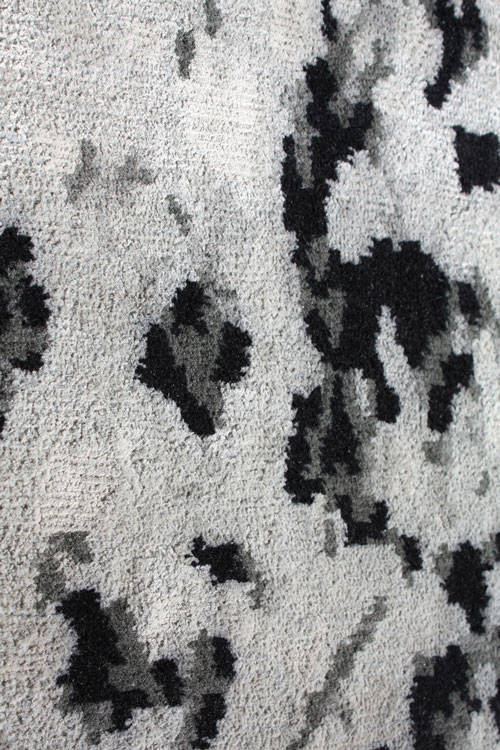 Winchester Hand Knotted Wool and Silk Rug in Charcoal by Tania Johnson Design - Close up