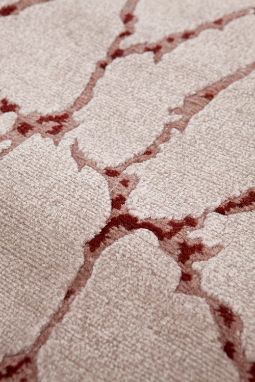 Zurich Hand Knotted Rug in Beige Rust by Tania Johnson Design - Close up