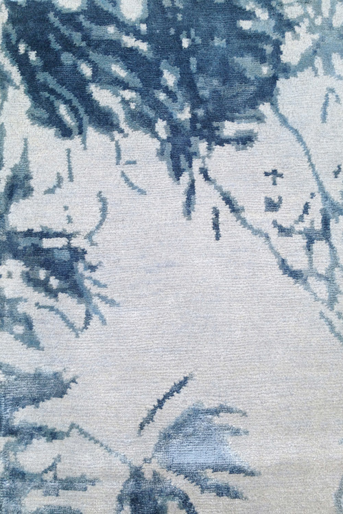 Tania Johnson Design Hand Knotted Wool Silk Rug Close up