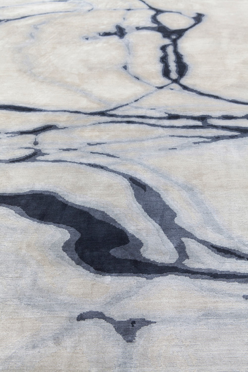 Waterlines Hand Knotted 100% Silk Rug in Navy Taupe by Tania Johnson Design - Close up