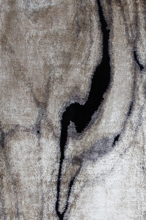 Waterlines Hand Knotted 100% Silk Rug in Black and Beige by Tania Johnson Design - Close up