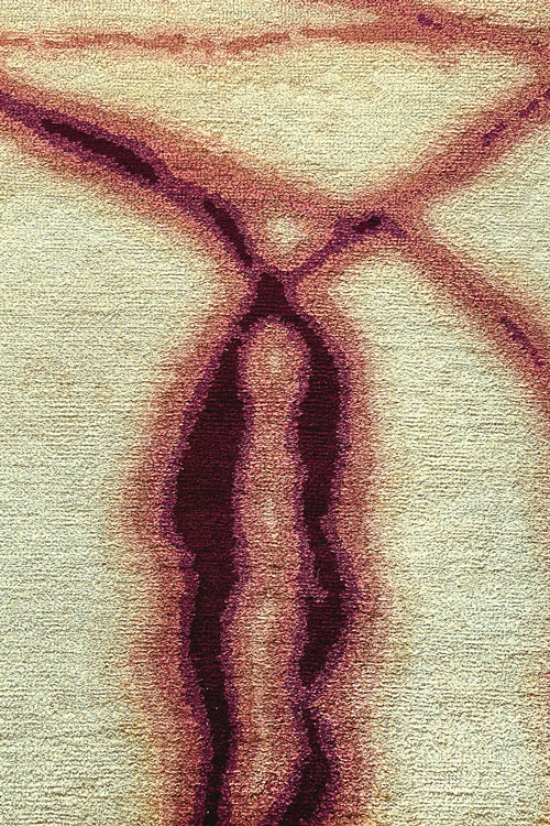 Waterlines Hand Knotted 100% Silk Rug in Copper by Tania Johnson Design - Close up