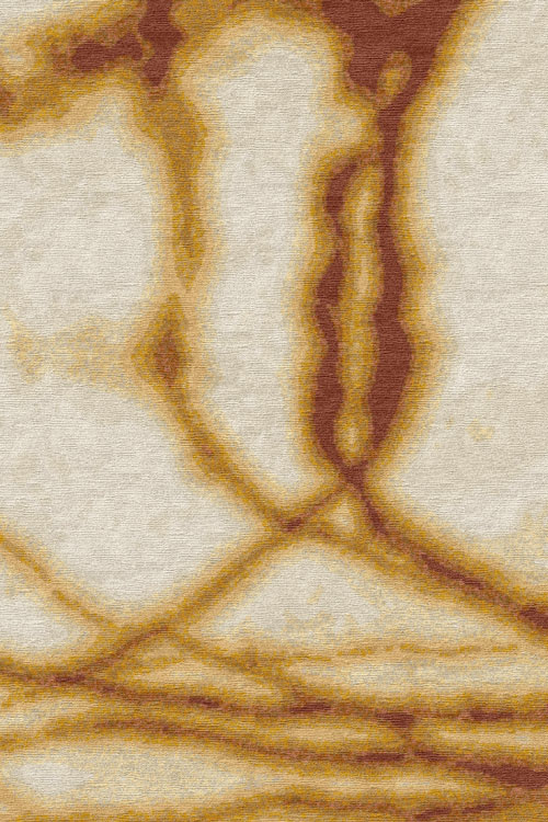 Waterlines Hand Knotted 100% Silk Rug in Siena by Tania Johnson Design - Close up